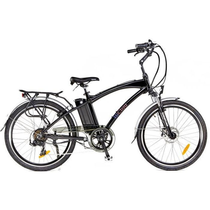 Vélo électrique BiClou Classic 26 noir : mot. roue arrière 250W batterie 374Wh - roues 26 pouces - autonomie 40km - garanti 3 ans