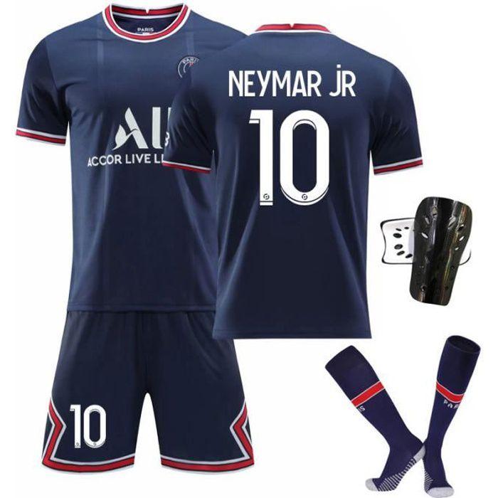 Maillot de Football Une Collection de Paris-Neymar 10 Maillot PSG Domicile Bleu Tenue + Chaussette + Support Protection pour Enfant