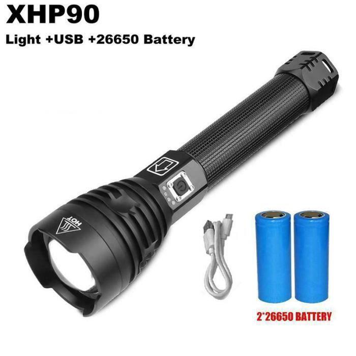 Xhp90 Lampe Torche Led Rechargeable Usb Avec Affichage De Puissance