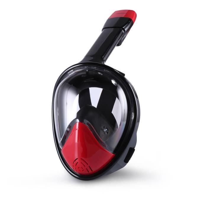 Masque Snorkeling Masque complet pour masque de plongée à sec, à 180 degrés, à camouflage rouge et noir Taille L
