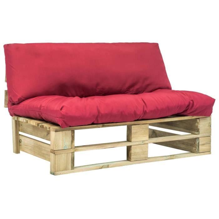 Canapé de jardin palette avec coussins rouge Bois vert FSC