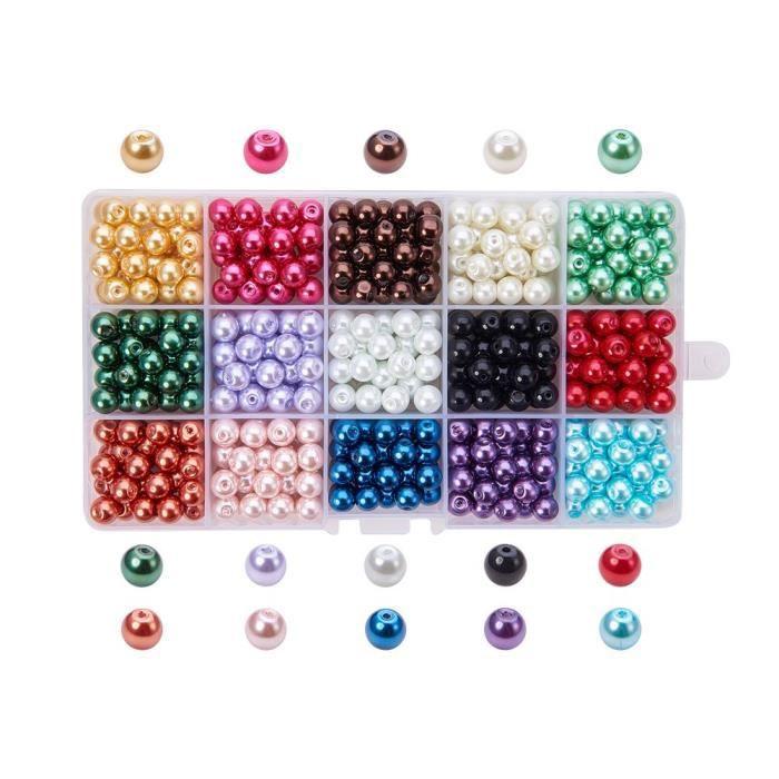 PandaHall - 510 pcs 15 Couleurs Perle en Verre Perles Rondes Perles Nacrées Teint Environmental pour DIY Fabrication de Bijoux Colli