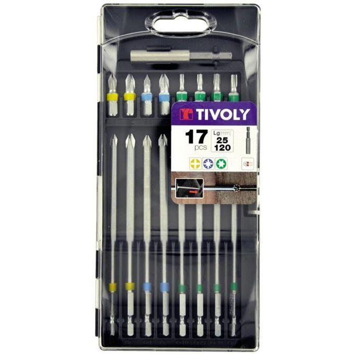 Coffret de 17 embouts de vissage : 25 et 120 mm - Embouts 25 mm classiques et 120mm extra longs pour accès difficiles TIVOLY