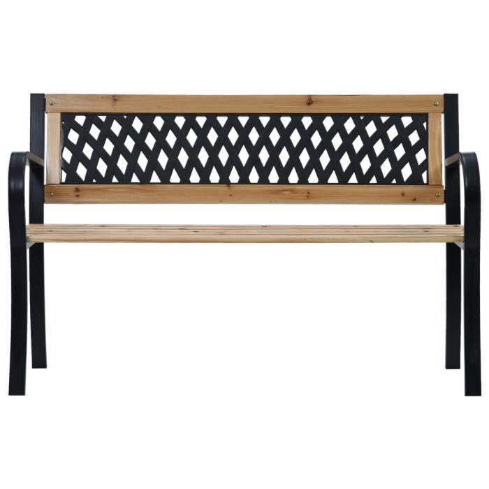 GES Banc de jardin - 120 x 53 x 77 cm - siège en bois et dossier en plastique et cadre en acier