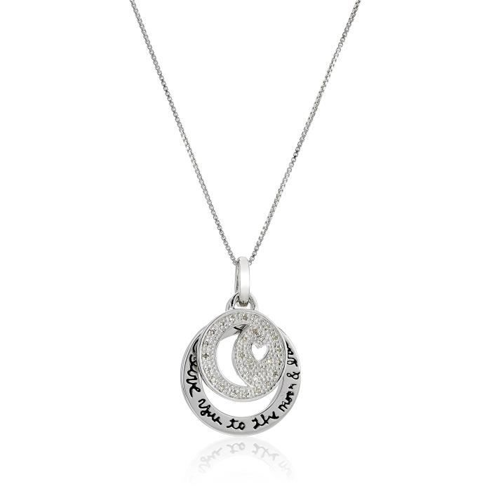 Jewel Panda Two Piece Out Lune Cercle Star Diamond I Love You Moon Retour Collier