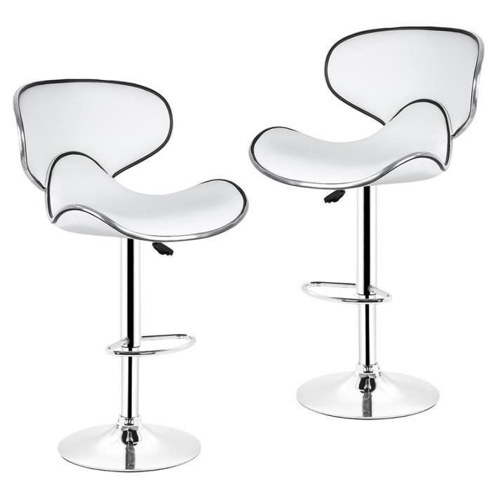 lot de tabourets de bar bistrot papillon en hauteur reglable blanc achat vente tabouret de. Black Bedroom Furniture Sets. Home Design Ideas