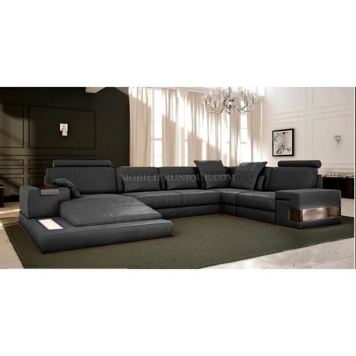 canap cuir gris anthracite panoramique design achat vente canap sofa divan cuir. Black Bedroom Furniture Sets. Home Design Ideas