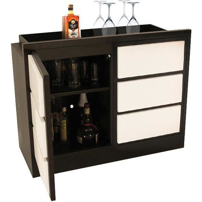 meuble bar teinte weng 2 portes laque blanche achat vente meuble bar meuble bar teinte. Black Bedroom Furniture Sets. Home Design Ideas