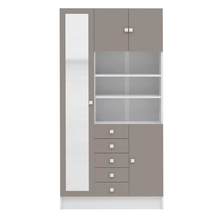 galet armoire de salle de bain l 90 cm blanc et taupe. Black Bedroom Furniture Sets. Home Design Ideas