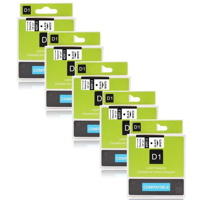 3-Pack /étiquettes pour DYMO LabelManager 160 210D 360d 450D Ruban Compatible Dymo D1 45013 12mm x 7m Noir sur Blanc