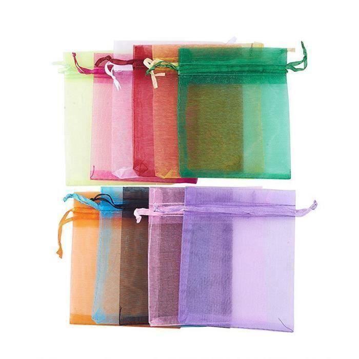 pochette-pochon organza-sac bijoux-pochette cadeaux-dragées X 5 fushia coeur or