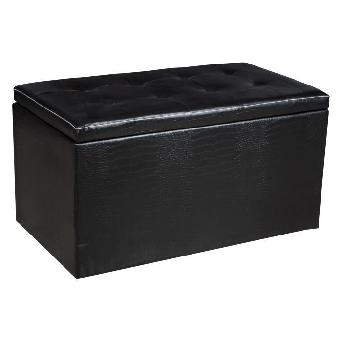bout de lit aspect croco noir achat vente coffre. Black Bedroom Furniture Sets. Home Design Ideas
