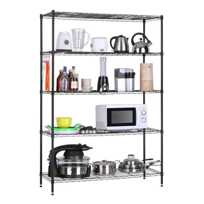 lingerie extra large 5 tier tag re noir garage fil de cuisine tag re de rangement rack. Black Bedroom Furniture Sets. Home Design Ideas
