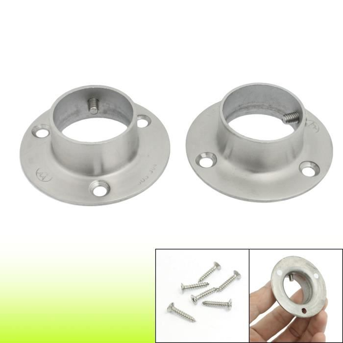 Lot de 2 supports de bride en acier inoxydable avec 6 vis de fixation Argent/é 25 mm