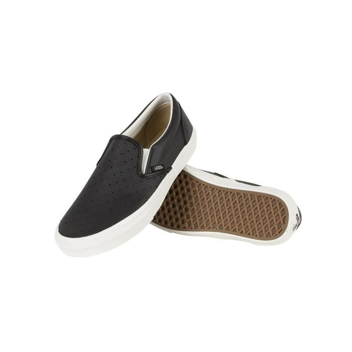 Vans Homme Classic Leather Slip-On Formateurs, Noir