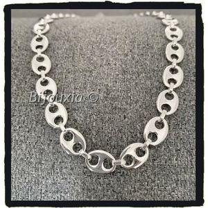 7//9//11mm Hommes Femmes Collier ou Bracelet en acier inoxydable argent grain de café Chaîne