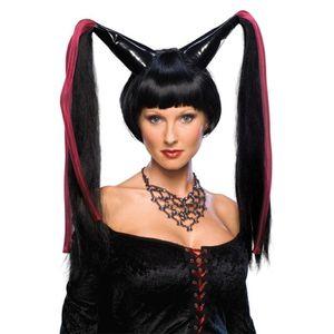 Sorcière perruque Noir-Halloween Déguisement Robe Long Femme Costume Accessoire 60 cm