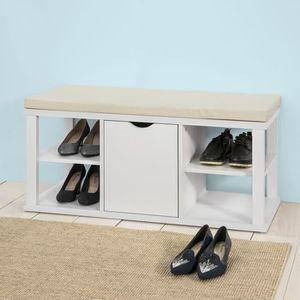 MEUBLE À CHAUSSURES SoBuy® FSR52-W Meuble à Chaussures Banc de Rangeme