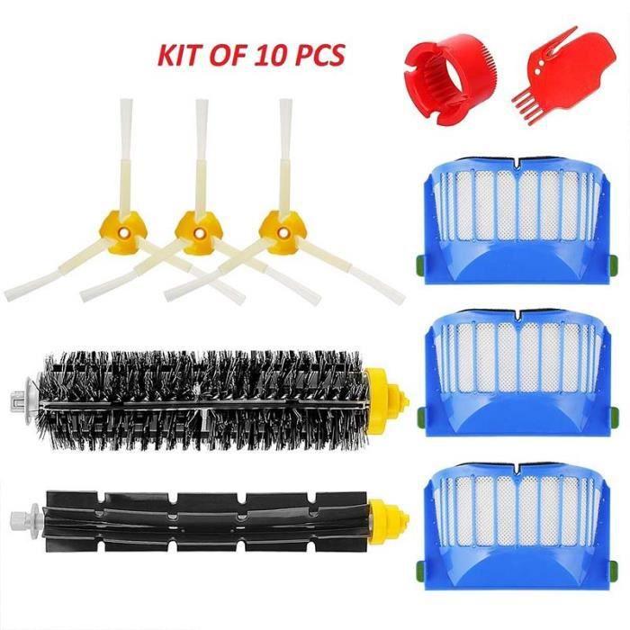 Kit brosse pour iRobot Roomba série 600 – Kit de 10 pièces accessoires pour aspirateur robot.