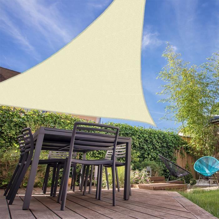 Voile d'ombrage résistante au vent 280g-m2 - Triangulaire - 4 x 5 x 6 m - Écru