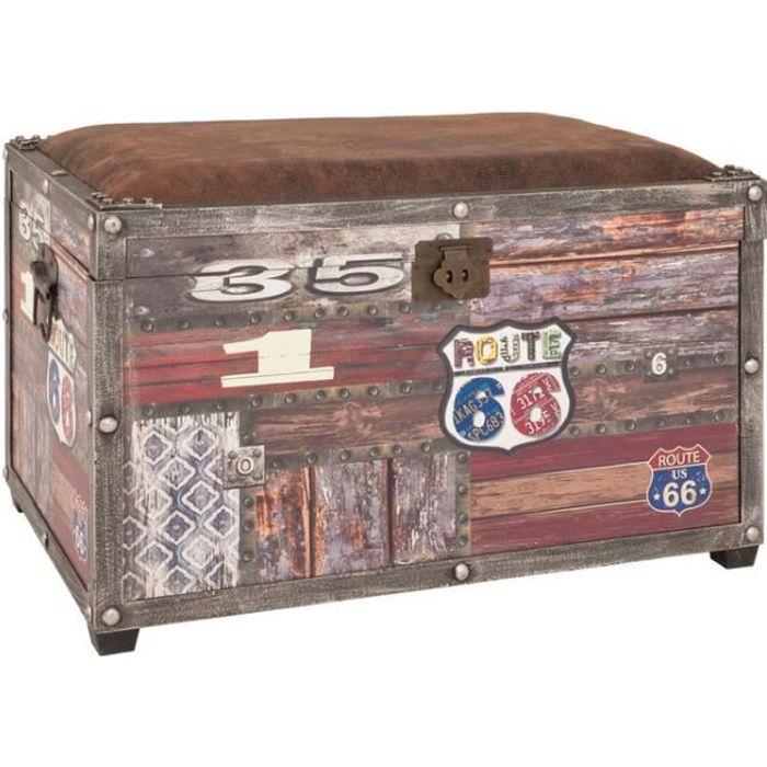 Coffre de rangement bois + assise rembourrée tissu aspect cuir WHITSTABLE - Route 66