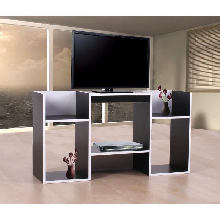 Meuble TV / étagère,6 niches,109x30x59cm, noir.