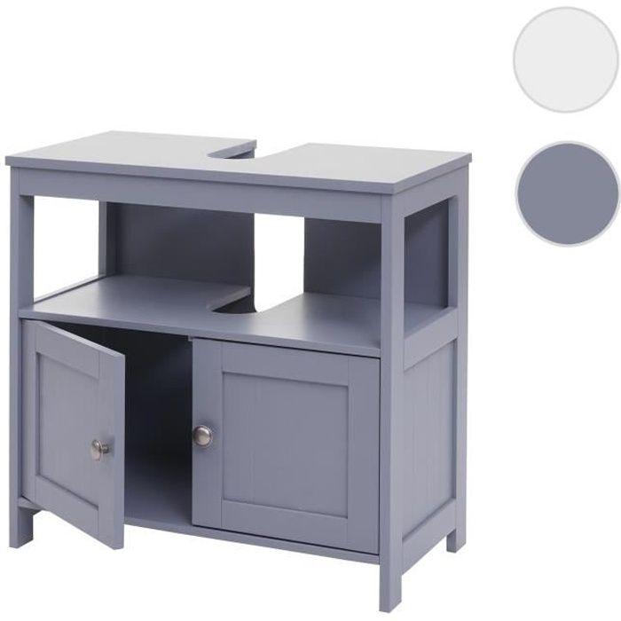 Meuble sous-vasque HWC-B63, meuble sous-vasque, 60x60x30cm ~ gris