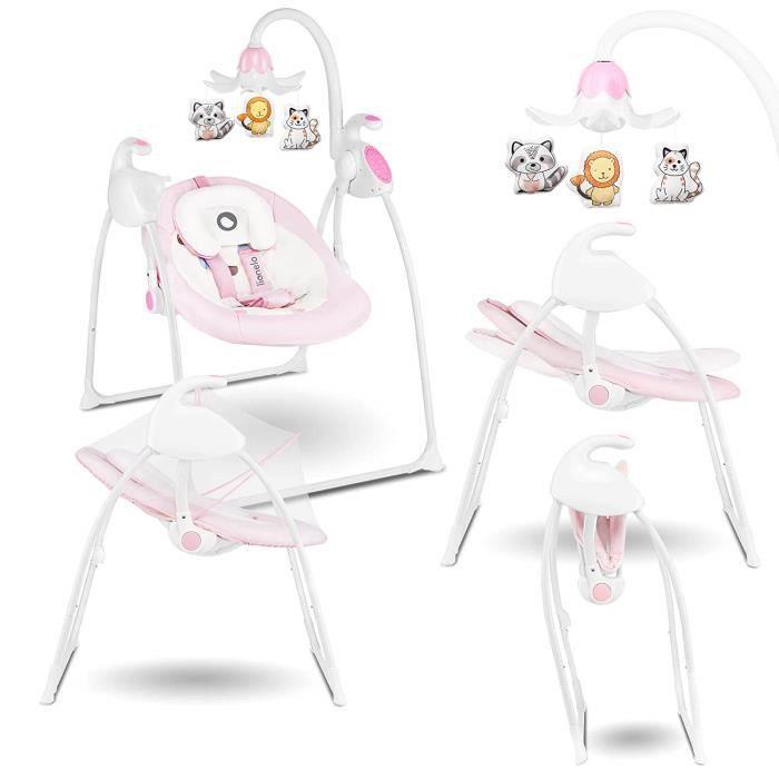 LIONELO Balancelle bébé électrique Robin 12 mélodies / 8 vitesses et moustiquaire - Rose