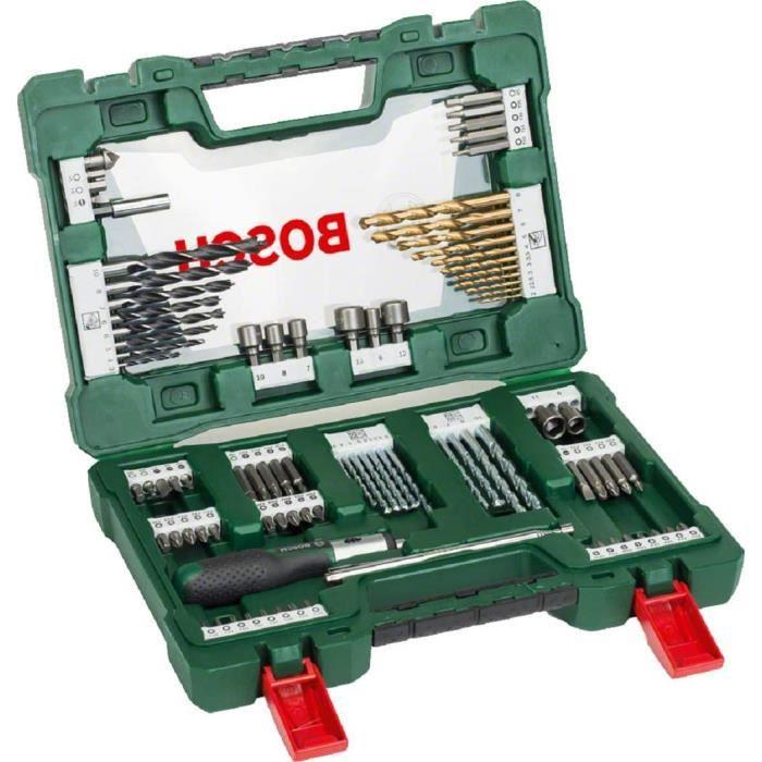 Bosch 91 pièces Jeu de forets et d'embouts en titane V-Line (pour le bois, la pierre et le métal, y compris tournevis à cliquet et t