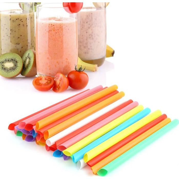 Cuque paille en plastique Pailles larges jetables en plastique colorées de paille à boire 100PCS pour des couleurs mélangées de