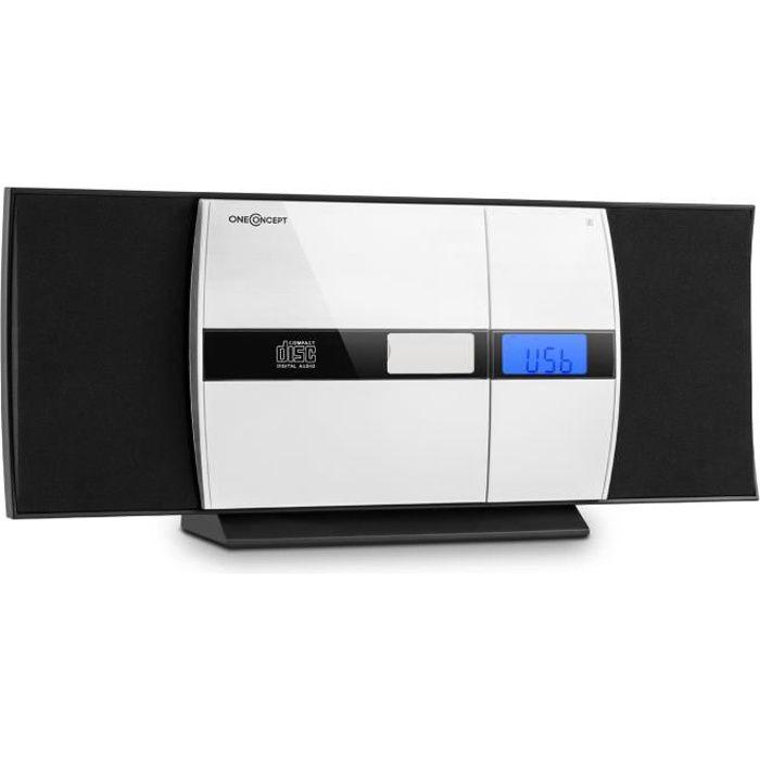 oneConcept V-15 Chaîne HiFi stéréo compacte (lecteur CD, port USB, entrée AUX, réveil, égaliseur, montage mural ) - noir