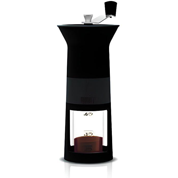 Bialetti DCDESIGN03 - ELECTROMENAGER - MOULINS A CAFE - Moulin à Café Manuel Noir Plastique 11,5x8,5x21,5 cm