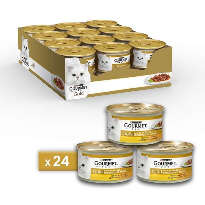 Gourmet 12130941 - COMMUTATEUR KVM - Gold Aliment pour Le Chat Dadini en Sauce avec Poulet et Foie, 85 g ? Lot de 24 pièces