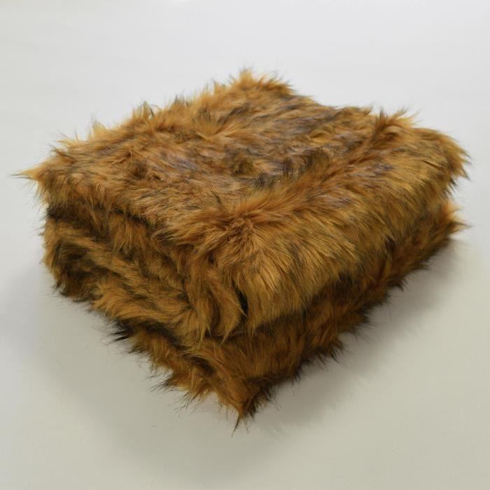 Plaid en fourrure à poils longs Gold 130 x 170 cm