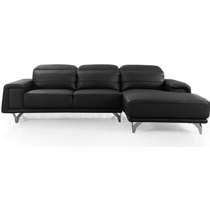 Canapé d'angle droit en cuir KARL - Noir - Droit - Noir