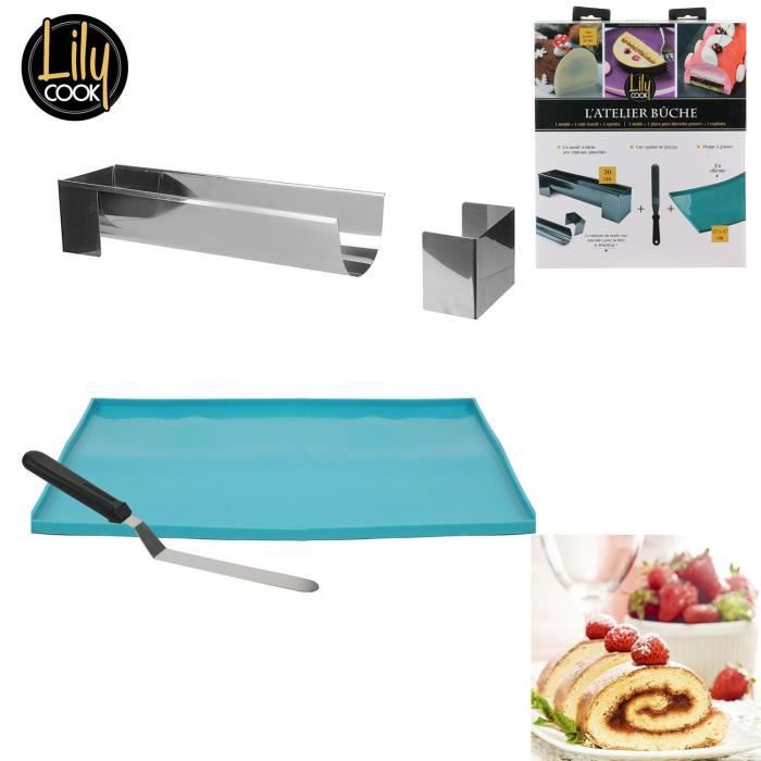 Coffret L'Atelier Buche 1 moule à bûche 30 cm + 1 spatule de glacage + 1 plaque génoise en silicone 27x37cm + Recette Lily Cook Noel
