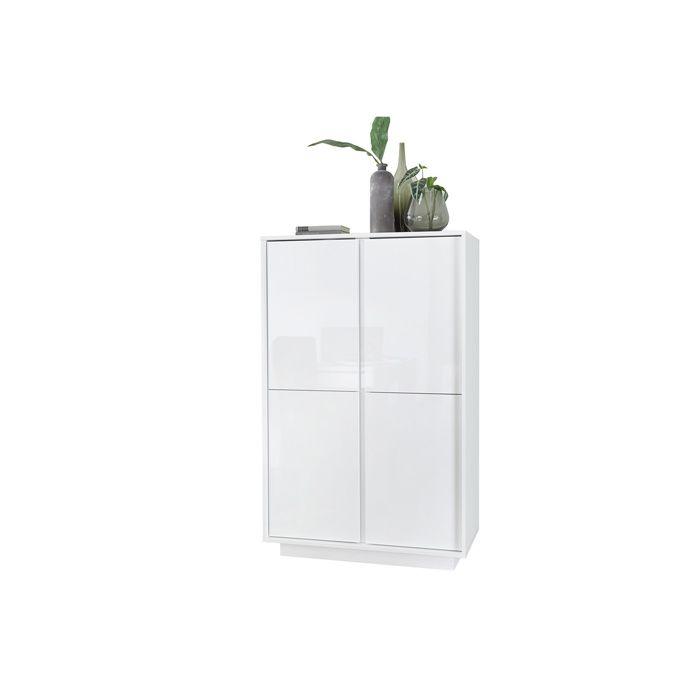 Miliboo - Buffet haut design blanc laqué brillant COMO