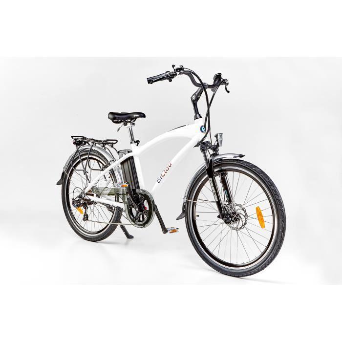 Vélo électrique BiClou Classic 26 blanc : mot. roue arrière 250W batterie 374Wh - roues 26 pouces - autonomie 40km - garanti 3 ans