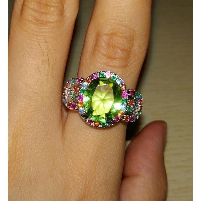 Mode Magnifique Pierres Précieuses Topaze Verte Saphir Diamant Anneau 925 Bague En Argent