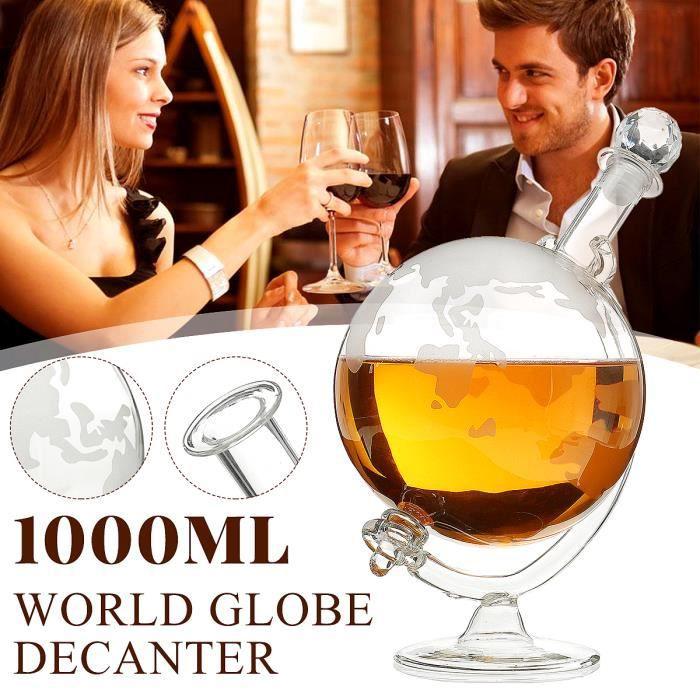 1000mL Globe terrestre Décanteur Aérateur Vodka Whisky Vin Carafe Bouteille verre Cadeau
