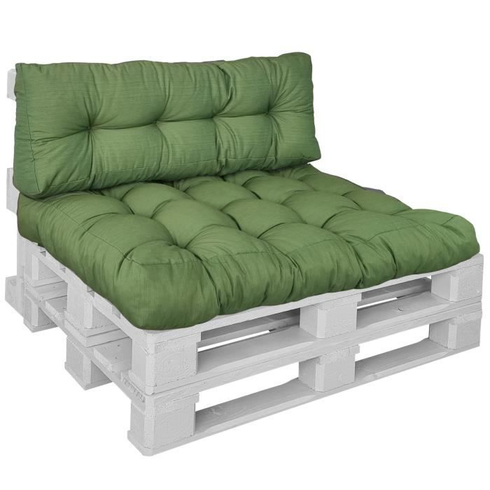 Proheim Coussins CONFORT Vert pour canapé euro palette - Assise 120x80 + Dossier 120x40 cm
