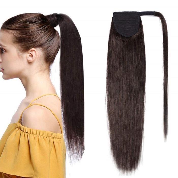 Extension En Queue de Cheval Lisse Cheveux Humain Naturel Clip In Ponytail Extension Wrap Around Facile A Porter - 20 Pouces[#2