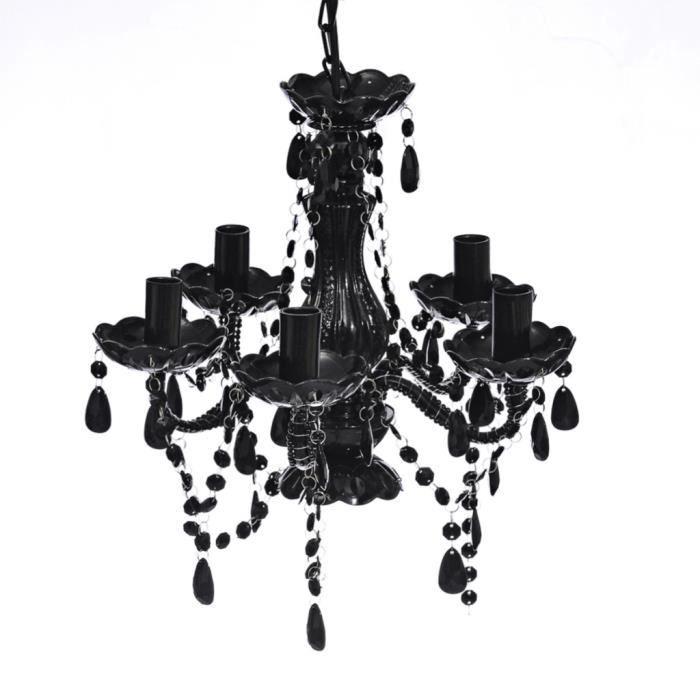 Lustre en cristal artificiel Noir décor classique lampe pour foyer salon salle à manger