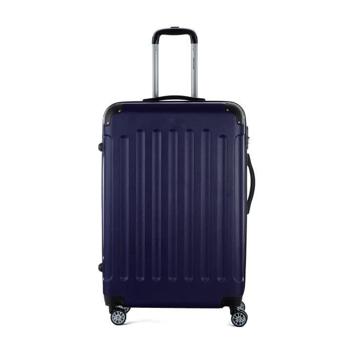 Valise XXL 70 cm, 4 roues doubles- couleur Bleu 75 x 46 x 28 Cm