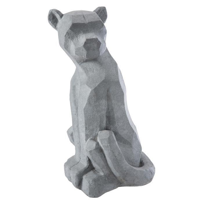 Statue déco panthère design en résine grise intérieur ou extérieur 53x27x23cm Gris
