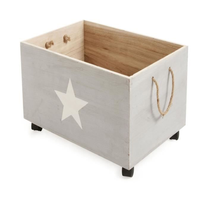 star caisse de rangement roulettes en bois pour enfant. Black Bedroom Furniture Sets. Home Design Ideas