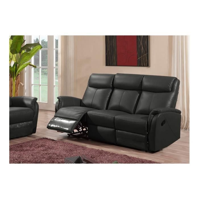 canap et 2 fauteuils relax en cuir noir achat vente. Black Bedroom Furniture Sets. Home Design Ideas