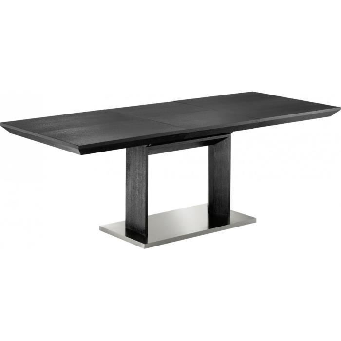 Table de repas design noire l160 pied central 1 allonge for Table de cuisine rectangulaire extensible