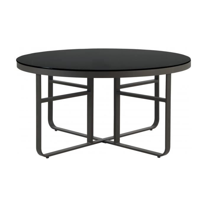 Beautiful table de jardin plateau verre noir images for Table ronde rotin plateau verre