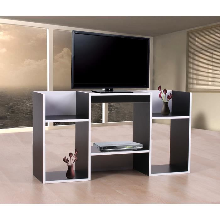 meuble tv tag re 6 niches 109x30x59cm noir achat. Black Bedroom Furniture Sets. Home Design Ideas